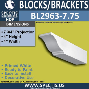 "BL2963-7.75 Eave Block or Bracket 4""W x 4""H x 7.75"" P"