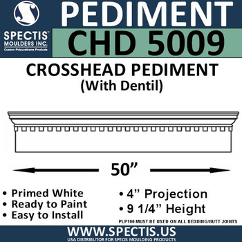 "CHD5009 Crosshead Pediment with Dentil 9 1/4"" x 50"""