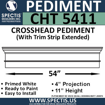 """CHT5411 Crosshead with Trim Strip Extended 54"""" W x 11""""H"""