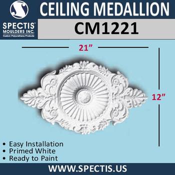 """CM1221 Oblong Ceiling Medallion 12"""" x 21"""""""