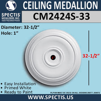 "CM2424S-33 Decorative Ceiling Medallion 1"" Hole x 32-1/2"" Round"