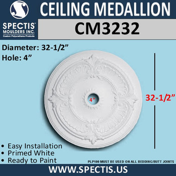 "CM3232 Decorative Round Ceiling Medallion 4"" Hole x 32.5"""