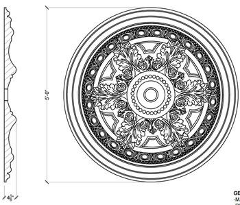 "CM3232AL-60 60"" Round Decorative Ceiling Medallion 4"" Hole"