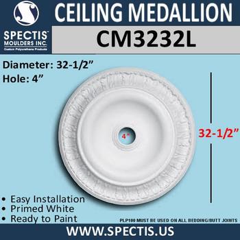 "CM3232L Decorative Ceiling Medallion 4"" Hole x 32-1/2"" Round"