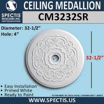 "CM3232SR Decorative Ceiling Medallion 4"" Hole x 32-1/2"" Round"