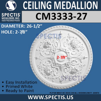 "CM3333-27 Decorative Round Ceiling Medallion 26.5"""