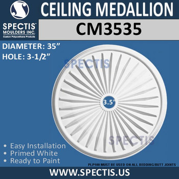 "CM3535 Decorative Ceiling Medallion 3.5"" Hole 35"" Round"