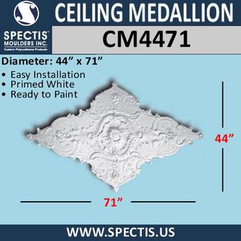 "CM4471 Diamond Shape Decorative Ceiling Medallion 44"" x 71"""