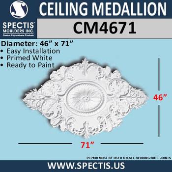 "CM4671 Oval Shape Decorative Ceiling Medallion 46"" x 71"""