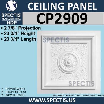 """CP2909 Decorative Urethane Ceiling Panel 23 3/4"""" Square"""