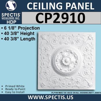 """CP2910 Decorative Urethane Ceiling Panel 40 3/8"""" Square"""