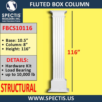 "FBCS10116 Structural Fluted Box Column 10"" x 116"""