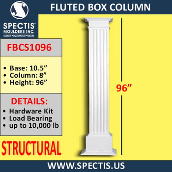 "FBCS1096 Structural Fluted Box Column 10"" x 96"""