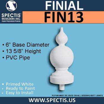 """FIN13 Arabian Style Urethane Finial 6"""" x 13-5/8"""""""