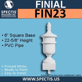 """FIN23 Urn on Base Urethane Finial 6"""" x 22-5/8"""""""