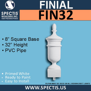 """FIN32 Tall Urn Style Urethane Finial 8"""" Square Base x 32""""H"""