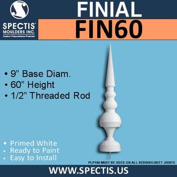 """FIN60 Cone Ball Sphere Urethane Finial 9"""" x 60"""""""