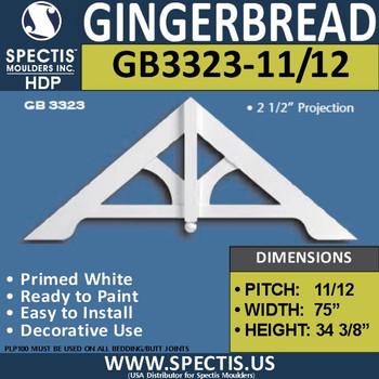 "GB3323-11-12 Gingerbread Gable Trim 75""W x 34 3/8""H"
