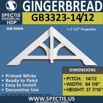 "GB3323-14-12 Gingerbread Gable Trim 64 1/8""W X 37 1/16""H"
