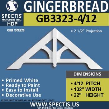 "GB3323-4-12 Gingerbread Gable Trim 132""W x 22""H"