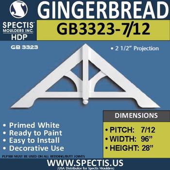 "GB3323-7-12 Gingerbread Gable Trim 95 1/4""W x 27 3/4""H"