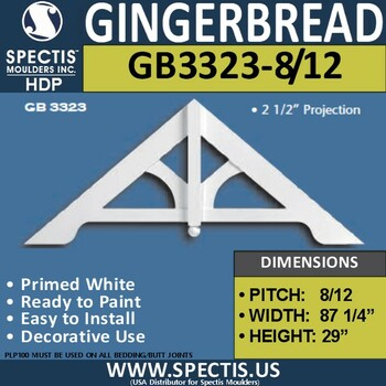 "GB3323-6-12 Gingerbread Gable Trim 87 1/4""W x 29""H"