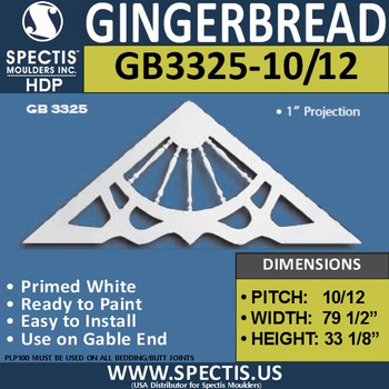 "GB3325-10-12 Gingerbread Gable Trim 79 1/2""W X 33 1/8""H"