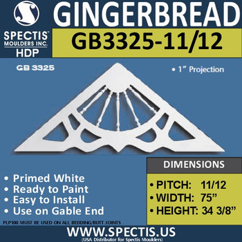 "GB3325-11-12 Gingerbread Gable Trim 75""W X 34 3/8""H"
