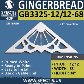 "GB3325-12-12-68 Gingerbread Gable Trim 68""W X 34""H"