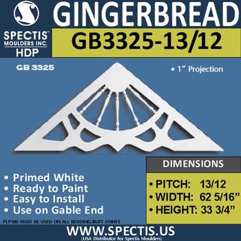 "GB3325-13-12 Gingerbread Gable Trim - 62 5/16""W x 33 3/4""H"