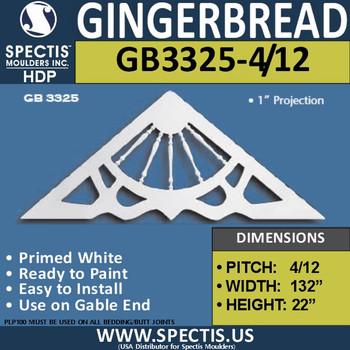 "GB3325-4-12 Gingerbread Gable Trim 132""W x 22""H"