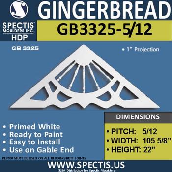 "GB3325-5-12 Gingerbread Gable Trim 105 5/8""W x 22""H"