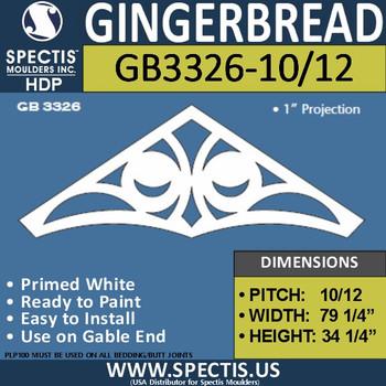 "GB3326-10/12 Gingerbread Gable Trim 75 1/4""W X 34 1/4""H"