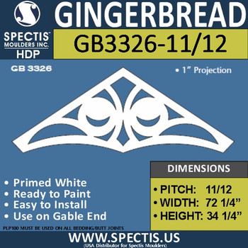 "GB3326-11/12 Gingerbread Gable Trim 75 1/4""W X 34 1/4""H"