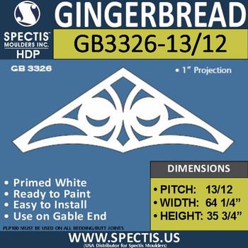 "GB3326-13/12 Gingerbread Gable Trim 66""W X 35 3/4""H"