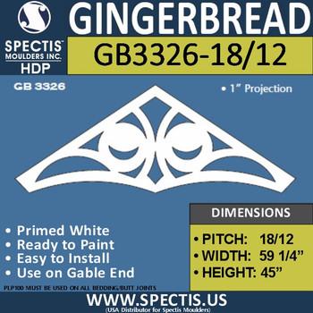"GB3326-18/12 Gingerbread Gable Trim 60""W X 45""H"