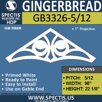"GB3326-5/12 Gingerbread Gable Trim 107 5/8""W X 22 1/8""H"