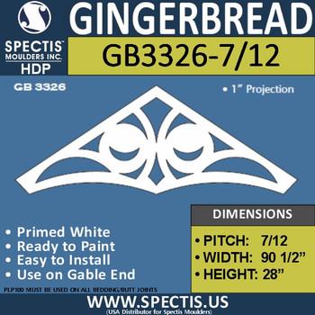 "GB3326-7/12 Gingerbread Gable Trim 96""W X 28""H"