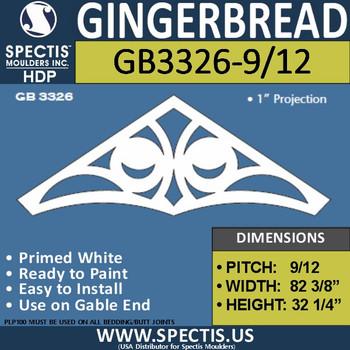 """GB3326-9/12 Gingerbread Gable Trim 85 3/42""""W X 32 1/4"""