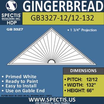 "GB3327-12/12-132 Gingerbread Gable Trim 132""W X 66""H"