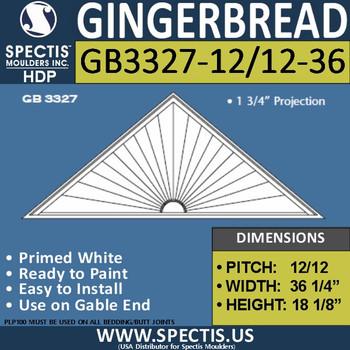 "GB3327-12/12-36 Gingerbread Gable Trim 36.5""W X 18""H"