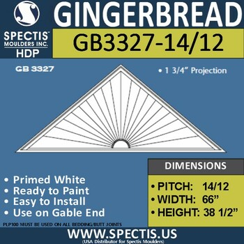 "GB3327-14/12 Gingerbread Gable Trim 66""W X 38.5""H"