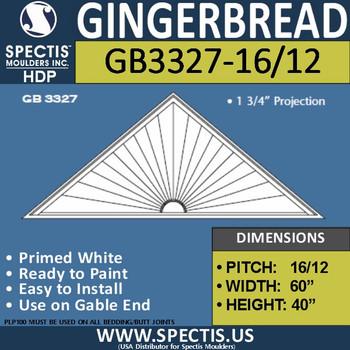"GB3327-16/12 Gingerbread Gable Trim 60""W X 40""H"