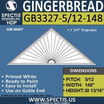 "GB3327-5/12-98 Gingerbread Gable Trim 148""W X 31""H"