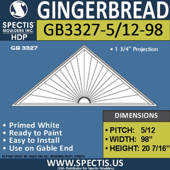 "GB3327-5/12-98 Gingerbread Gable Trim 98""W X 20""H"