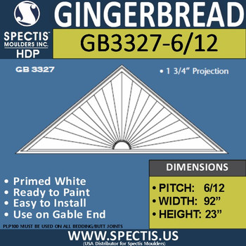 "GB3327-6/12 Gingerbread Gable Trim 92""W X 23""H"