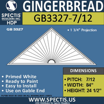 "GB3327-7/12 Gingerbread Gable Trim 84""W X 24 3/4""H"