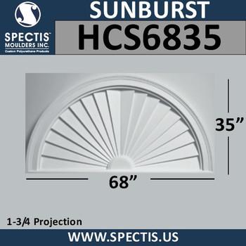 HCS6835 Half Circle Urethane Sunburst 68 x 35