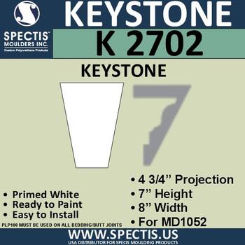 """K2702 Spectis Urethane Keystone 4 3/4""""P X 7""""H X 8""""W"""