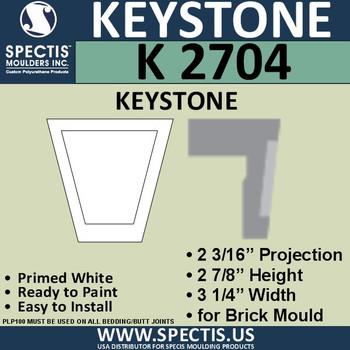 """K2704 Spectis Urethane Keystone 2 3/16""""P X 2 7/8""""H X 3 1/4""""W"""
